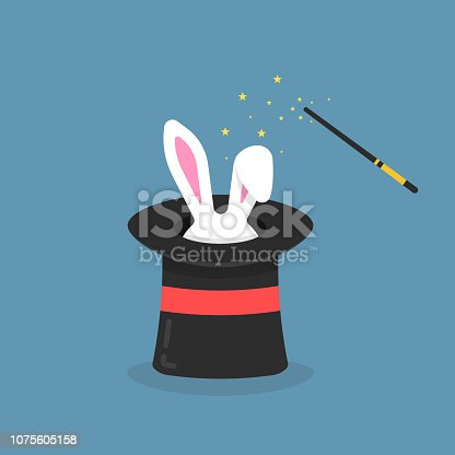 black magic hat with bunny ears. entertainment party or beautiful circus show concept, imagination cylinder with gift animal isolated on blue background. flat style trend graphic poster design