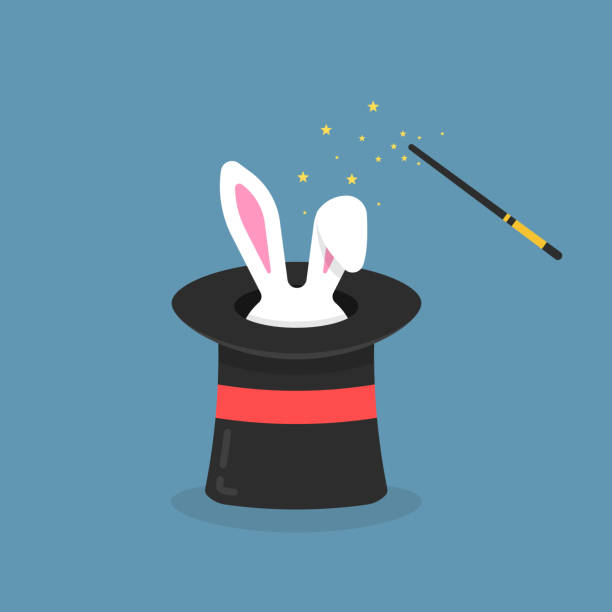 black magic hat with bunny ears - paranormalny stock illustrations