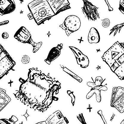 Black magic, voodoo, fortune telling, witchcraft attributes. Hand drawn vector seamless pattern. Vintage ornament. Halloween design for background, wallpaper, print, wrap, textile, fabric, decor, card