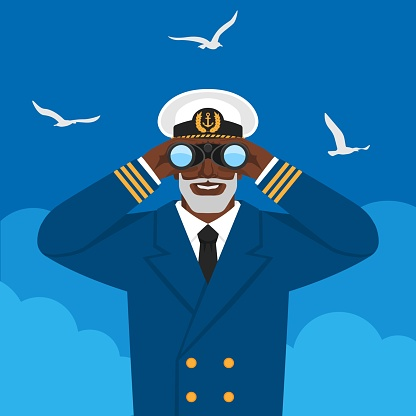 Black male captain looking through binoculars against cloudy sky and seagulls