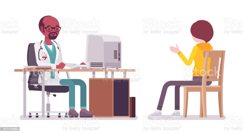 Black male doctor therapist consulting patient vector art illustration
