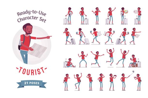 black male tourist character set, various poses and emotions - tourist stock illustrations