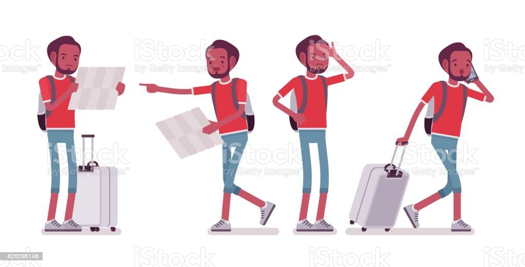 Black male tourist in trip situations vector art illustration