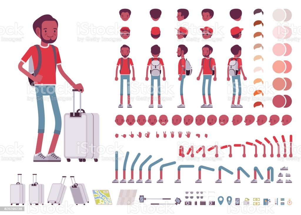 Black male tourist with trip luggage, rucksack. Character creation set vector art illustration