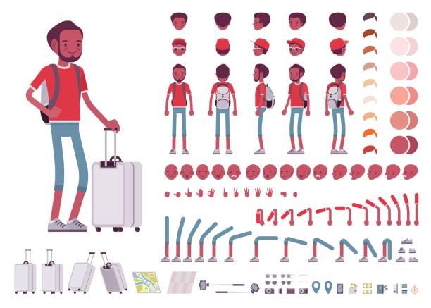 ilustraciones, imágenes clip art, dibujos animados e iconos de stock de turismo negro hombre con maletas de viaje, mochila. juego de creación de caracteres - viaje a áfrica