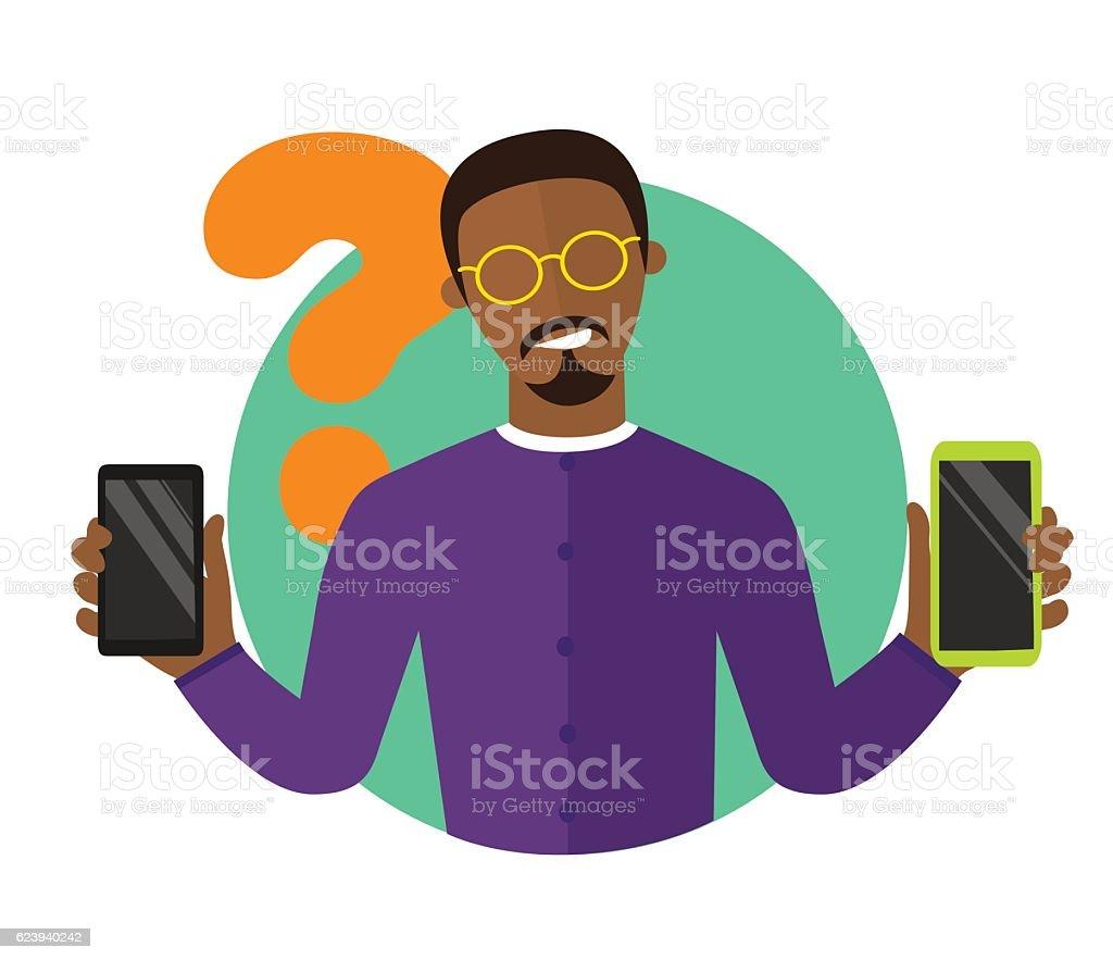 Black man choosing smartphone, isolated vector sign, synchronization icon vector art illustration