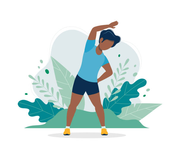 Black man exercising in the park. Illustration in flat style, concept vector illustration for healthy lifestyle, sport, exercising. vector illustration in flat style active lifestyle stock illustrations