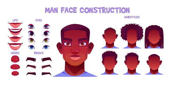 Black man face construction, avatar creation set