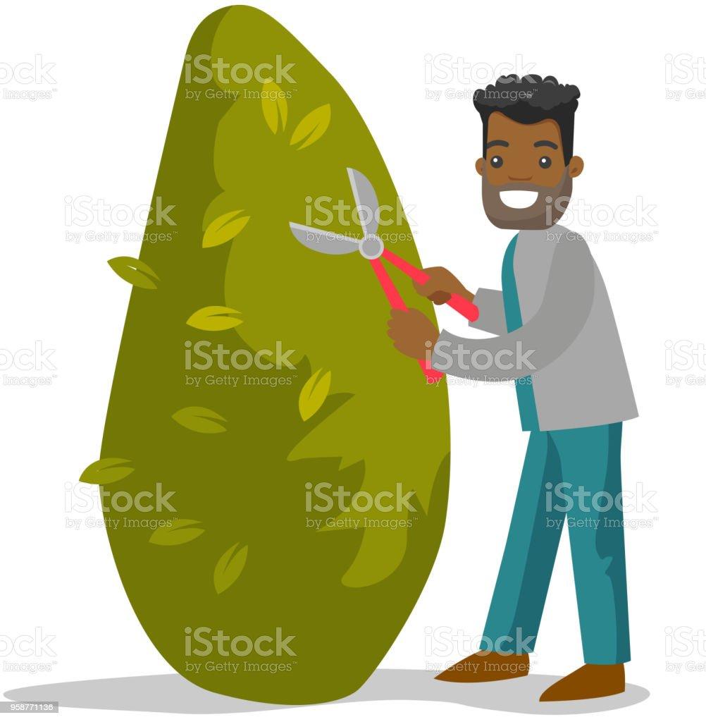 Ilustración de Un Jardinero Negro Hombre Cortando Un árbol Con Unas ...