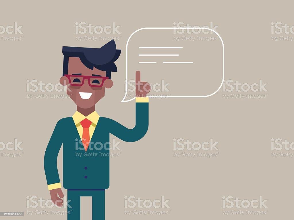 Black man holding up his index finger. vector art illustration