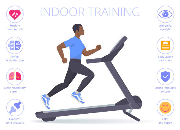 Black man is running on the treadmill. Flat vector illustration. Strong black man is running on the treadmill. Flat vector illustration of athletic adult boy in the sportswear doing exercise on the treadmill. Indoor training concept isolated on white. exercise machine stock illustrations