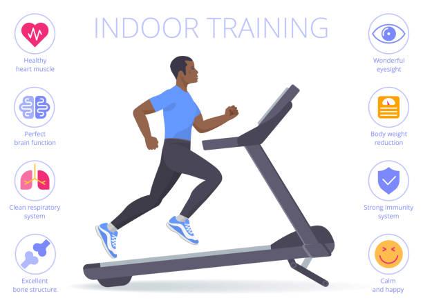Black man is running on the treadmill. Flat vector illustration. vector art illustration