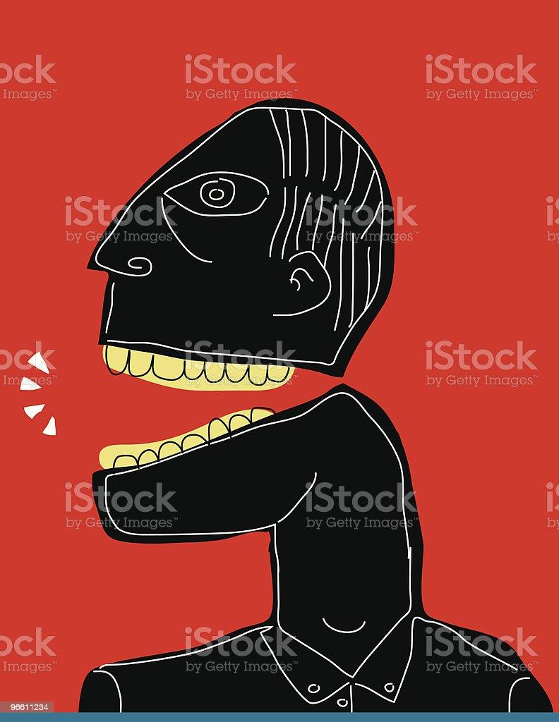 Черный человек на красной линии выступая белой backgroud использование бранной лексики, крик - Векторная графика Абстрактный роялти-фри
