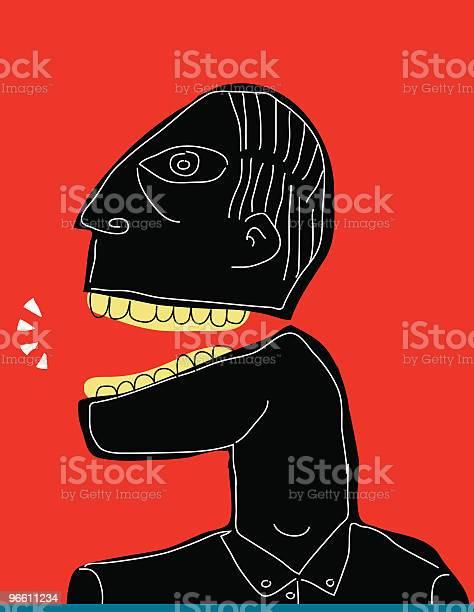 Черный Человек На Красной Линии Выступая Белой Backgroud Использование Бранной Лексики Крик — стоковая векторная графика и другие изображения на тему Абстрактный
