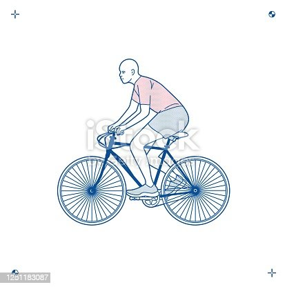 Black man rides a bicycle, athlete, two-wheeled adult cycling, silhouette, vector