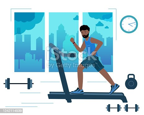 Black Man running on motorized treadmill in gym with the city background in the window. african cartoon character. Fitness club, gym tool. Vector illustration in modern flat style.