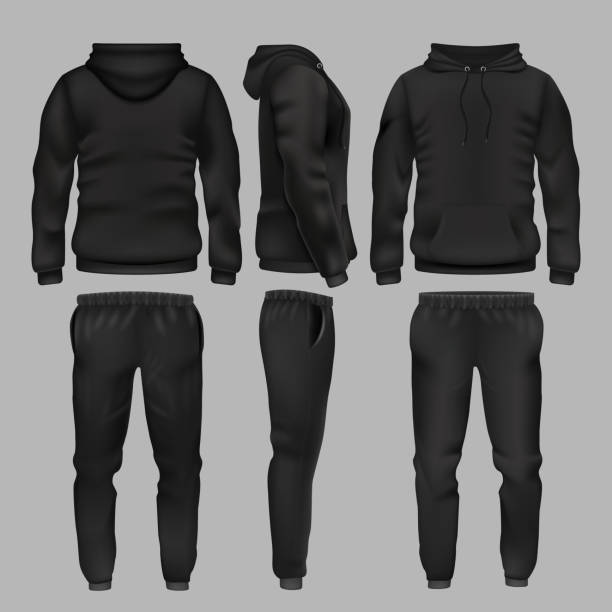 b44d03259830 Black man sportswear hoodie and trousers vector mockup isolated vector art  illustration