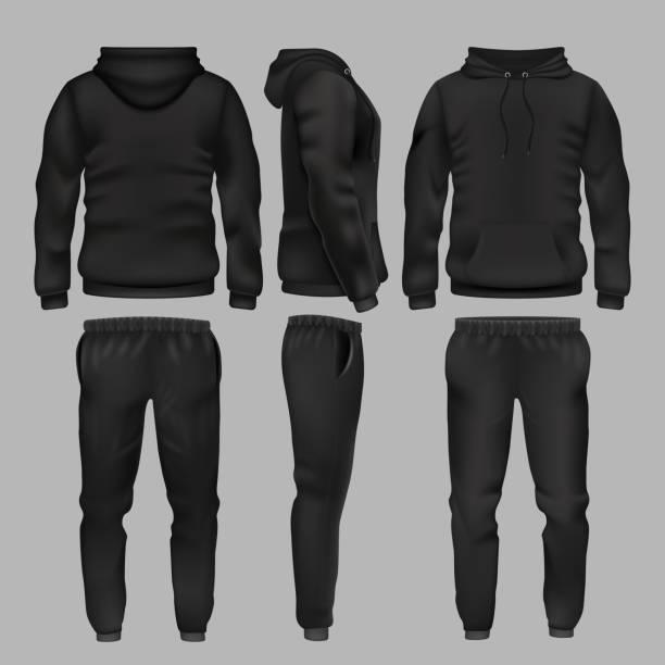 stockillustraties, clipart, cartoons en iconen met zwarte man sportkleding hoodie en broek vector mockup geïsoleerd - sportkleding