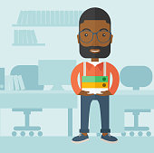 A Black man standing while holding book files ready for his business presentation.  Planning concept. A Contemporary style with pastel palette, soft blue tinted background. Vector flat design illustration. Square layout.
