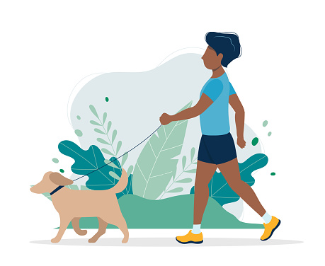 Black man with a dog in the park. Illustration in flat style, concept vector illustration for healthy lifestyle, sport, exercising.
