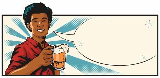 Black Man With Beer vector art illustration