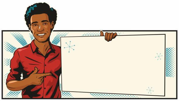 Black Man With Blank Sign vector art illustration