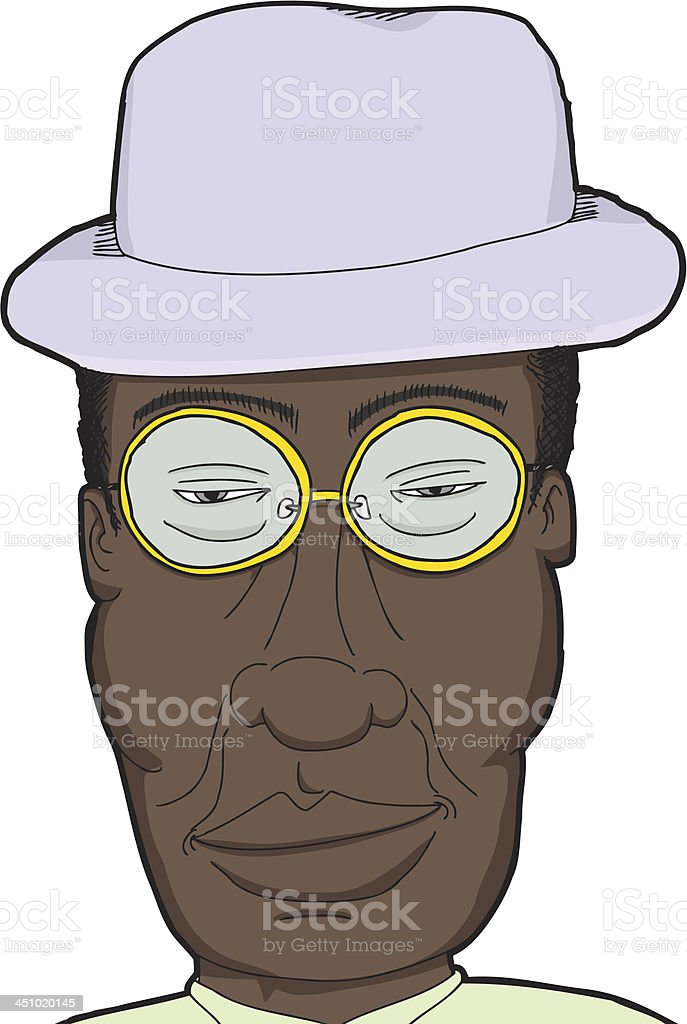 Black Man with Glasses royalty-free stock vector art