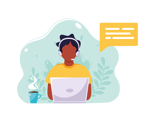 Black man with headphones and microphone working on laptop. Customer service, assistance, support, call center concept. Vector illustration in flat style.