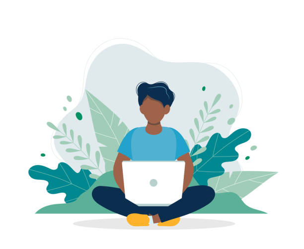 Black man with laptop sitting in nature and leaves. Concept vector illustration for working, freelancing, studying, education, work from home. Illustration in flat cartoon style vector illustration in flat style man on computer stock illustrations
