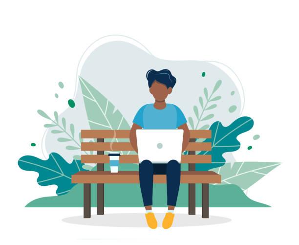 ilustrações, clipart, desenhos animados e ícones de homem negro com o portátil que senta-se no banco na natureza e nas folhas. ilustração do vetor do conceito para o freelance, trabalhando, estudando, instrução, trabalho do repouso, estilo de vida saudável. ilustração no estilo liso - banco assento