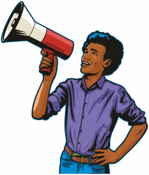 Black Man With Megaphone vector art illustration