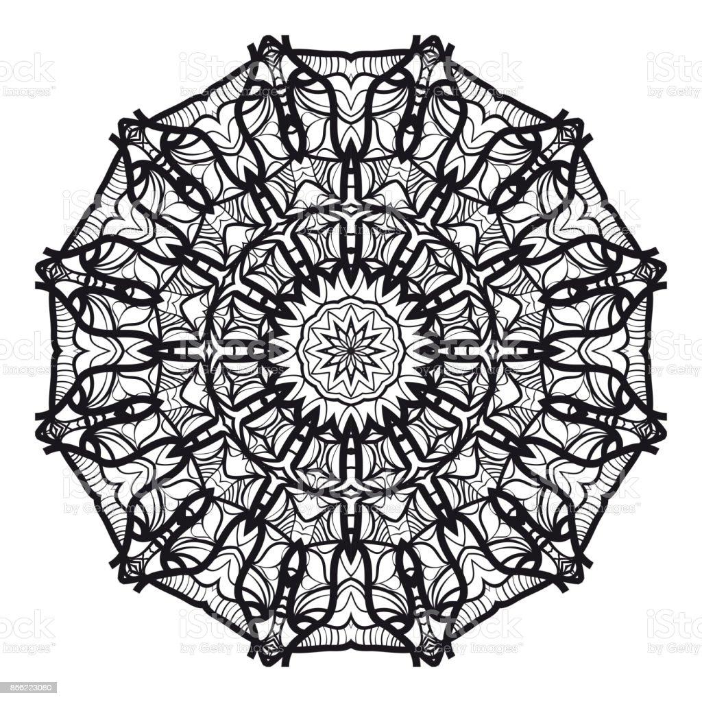 Siyah Mandala Boyama Sayfasi Tebrik Karti Davet Dovme Icin Sus