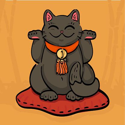 black maneki neko talisman cat beckoning wealth