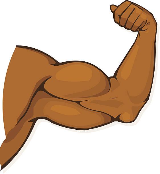 Black Man's Muscular Arm Flexing Biceps vector art illustration