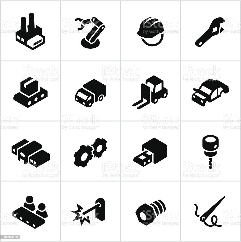 Black Manufacturing Icons vector art illustration