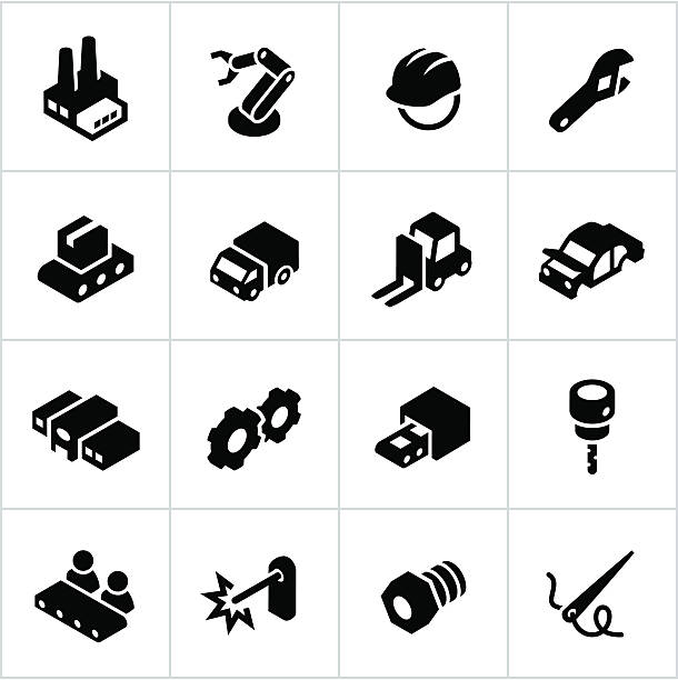 schwarz industrie symbole - metallverarbeitung stock-grafiken, -clipart, -cartoons und -symbole