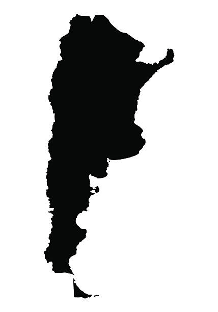 black map oF Argentina vector art illustration