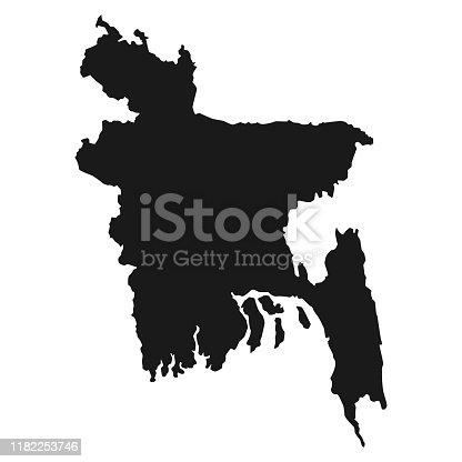 istock Black Map Of Bangladesh Isolated On White Background, Vector Illustration world geography 1182253746