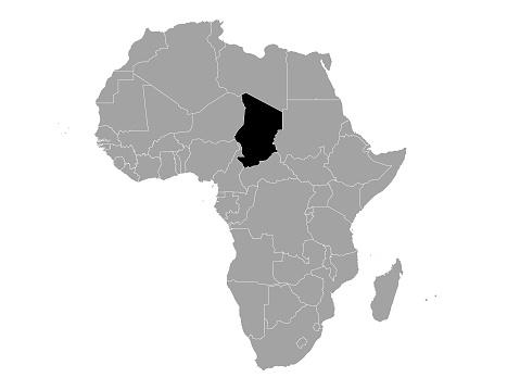 Black Map of Chad