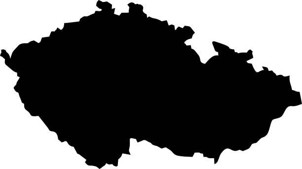 black map of czech republic - republika czeska stock illustrations