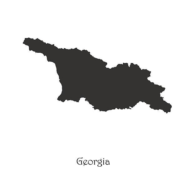 Black map of Georgia for your design vector art illustration