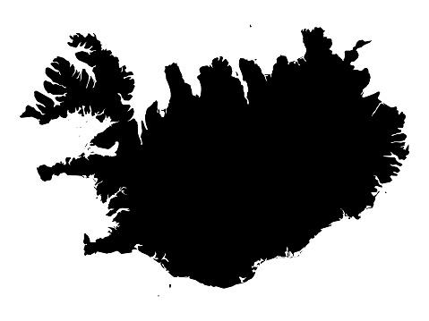 Black map of Iceland