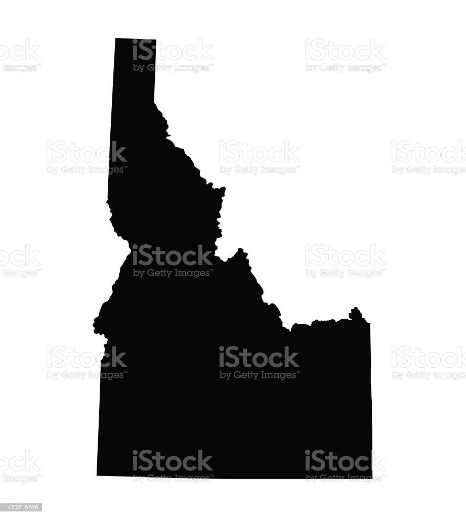 Black map of Idaho vector art illustration