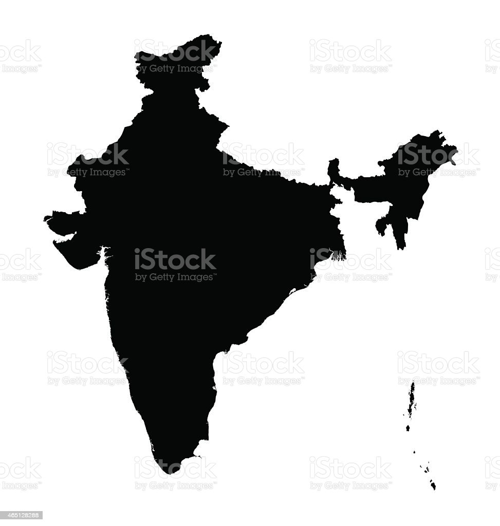 black map of India vector art illustration
