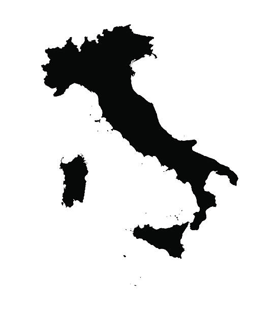 black map of Italy detailed vector map of Italy calabria stock illustrations