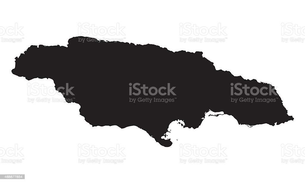 black map of Jamaica