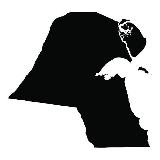 ilustraciones, imágenes clip art, dibujos animados e iconos de stock de negro mapa de kuwait - mapa de oriente medio