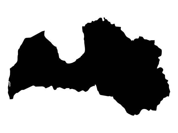 Black map of Latvia vector illustration of Black map of Latvia latvia stock illustrations