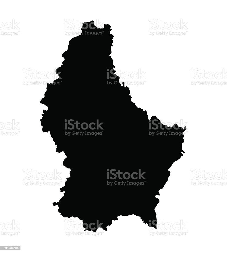 black map of Luxembourg vector art illustration