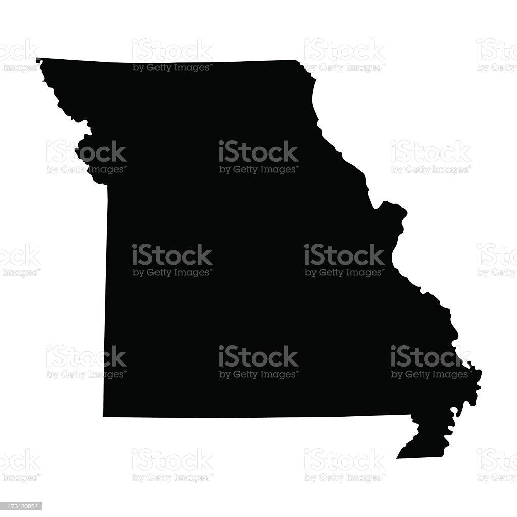 black map of Missouri vector art illustration